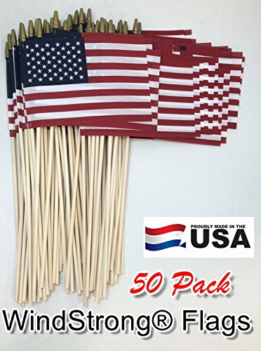 Lot of -50-6x9 Inch US American Hand Held Stick Flags Spear Top on 18 Dowel WindStrong® Made in the USA