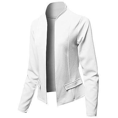 FRAUIT Blazer Mujer Trajes Tops Color Sólido Traje Ropa de Oficina ...