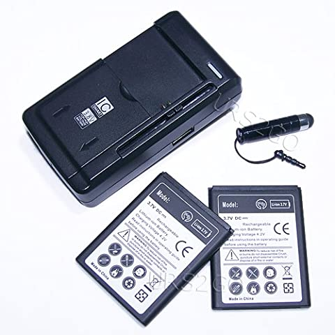 High Power 2100mAh Standard Battery Universal Travel Home USB Charger Stylus for Straight Talk/NET10 ZTE Savvy Z750C Phone - Fast (Zte Savvy Straight Talk Batteries)