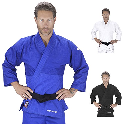 Judo Gi Uniform (Elite Sports New Item Deluxe Adult Ijf Judo Gi With Preshrunk Fabric and Free Belt, Blue (1))