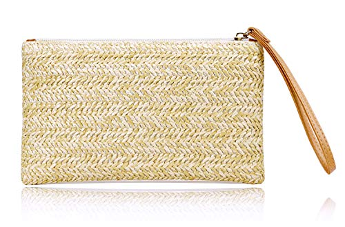 Straw Clutch Purses for Women Bohemian Zipper Wristlet Womens Summer Beach Sea Purse straw bag (Beige-yellow)