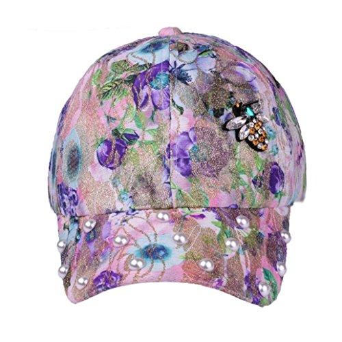 Baseball Cap Floral Print Baseball Cap Adjustable 100% Cotton Canvas Dad Hat Hats for Women (Purple)