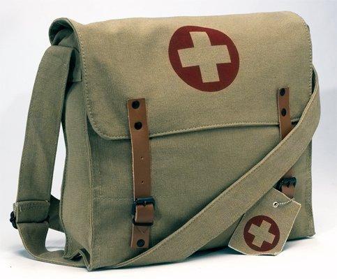 Vintage Medic Bag w/Cross Messenger Bag