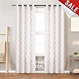 jinchan Sheer Embroidered Curtains for Living Room Grommet Top Embroidery Curtains for Bedroom 95″ L White