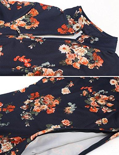 MODETREND Mujer Vestido Vintage Chino Fiesta Vestido Cheongsam Florales Coctel Partido Vestido de Noche y Ceremonia Azul