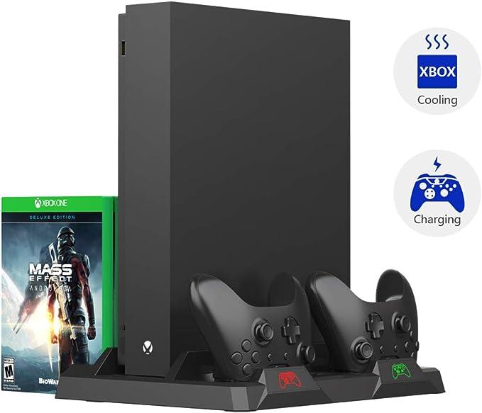 PeakLead Xbox One Soporte Vertical y Ventilador de Refrigeración, Estación de Carga, Cargador de Batería Mando Controller Charger, 15x Juegos Almacenamiento para Xbox One, One S, One X, Elite: Amazon.es: Electrónica