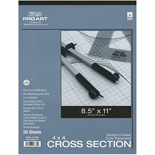 Pro Art 8-1/2-Inch by 11-Inch Cross Section Paper Pad, 4 Squares per Inch (Blue Grid Paper)