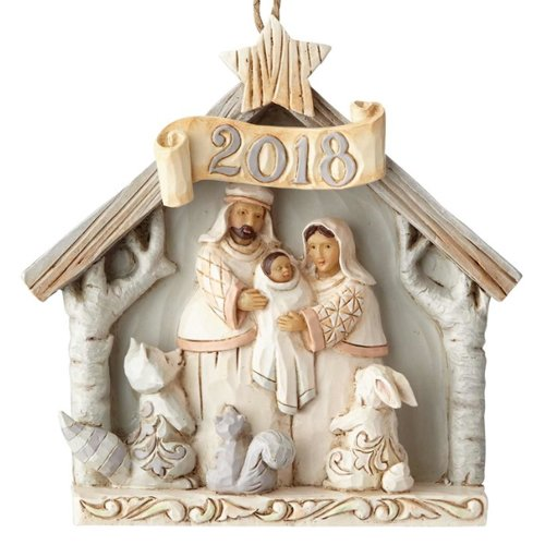 Enesco Jim Shore Heartwood Creek White Woodland 2018 Nativity Ornament
