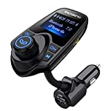 VicTsing T10 Bluetooth FM Transmitter, Car Radio Kit with USB Car Charger, Music Control, Hands-Free Calling Black