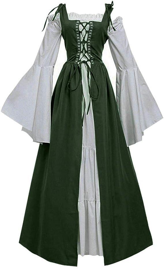 Auifor Damen Mittelalterliche Kleid mit Trompetenärmel V Ausschnitt Mittelalter Party Kostüm Cosplay Maxi Kleid