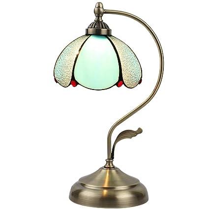 Lámpara de Mesa LED Dormitorio Hierro Forjado luz Tiffany ...