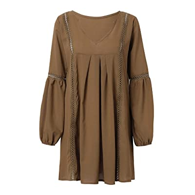 FIRSS Damen Laterne Ärmel Blusenkleid | Ruffles Minikleid | Unregelmäßige Strandkleid | V Ausschnitt Kleider | Cropped Partykleider | Mode Elegante Langarmshirt Abendkleider