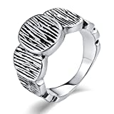 Aooaz Stainless Steel Ring for Men Matte-Finish Round Link Wedding Ring Signet Rings Silver US Size 9
