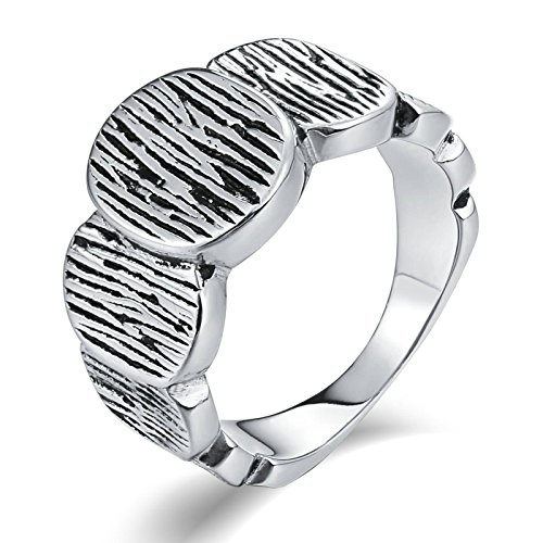 Aooaz Stainless Steel Ring for Men Matte-Finish Round Link Wedding Ring Signet Rings Silver US Size 8