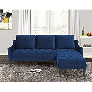 blue sectional sofa ikea images bed home collection modern hand tufted accented reversible velvet arm facing wooden legs navy