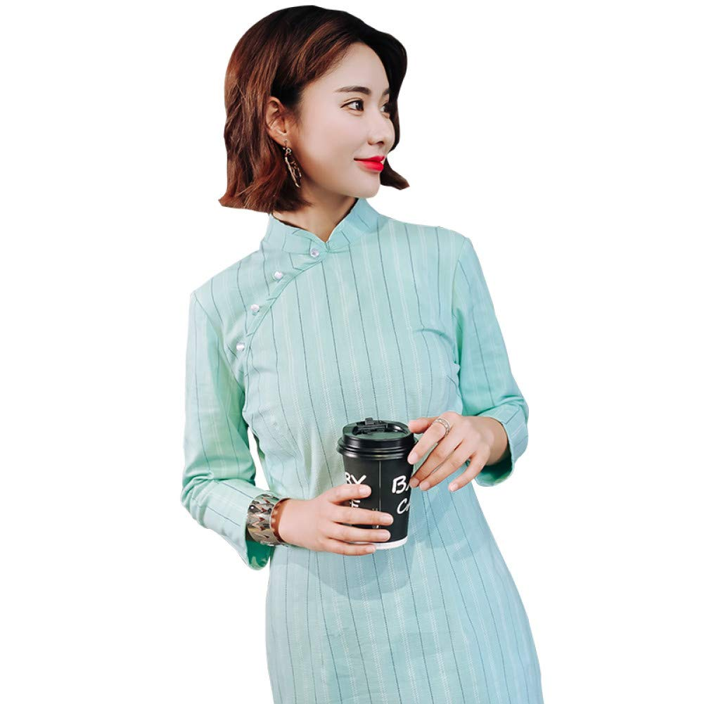 L BINGQZ Daily cheongsam new girl dress in the sleeves retro fashion slim slimming cheongsam dress
