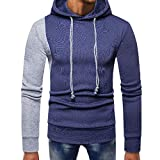 Mens T-Shirts Clearance WEUIE Mens Splicing Pocket Pullover Long Sleeve Hooded Sweatshirt Tops Blouse(L, Blue )