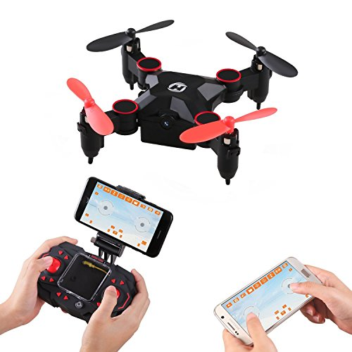 Holy Stone HS190W Mini Foldable FPV Drone with Live Video Camera - 2.4Ghz 6-Axis gyro Nano Quadcopter with Altitude Hold - 3D Flips and Headless Mode Functions