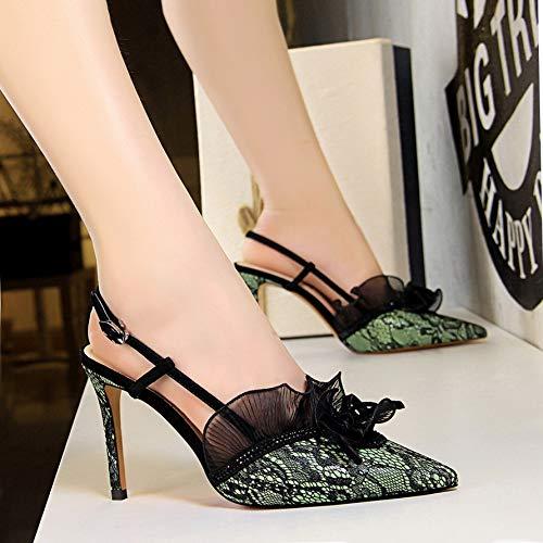 del del Negros De alto La zapatos Aguja Tacón de Femeninos De tacón Alto Zapatos Green PU Yukun Estilete x07X1