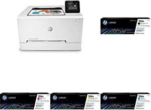 HP Color LaserJet Pro M255dw Wireless Laser Printer, Remote Mobile Print, Duplex Printing (7KW64A) with XL Toner Cartridges - 4 Colors