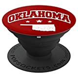 Oklahoma State Map White Red PopSocket - PopSockets Grip and Stand for Phones and Tablets