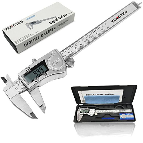 TENGYES Digital Caliper, Stainless Steel Electronic Vernier Caliper 6 inch/150 mm, IP54 Waterproof Accurate Measuring Tool with Large LCD Screen Inch/Fractions/Millimeter Conversion