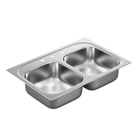 Moen G202153 2000 Series 20 Gauge Double Bowl Undermount Sink ...