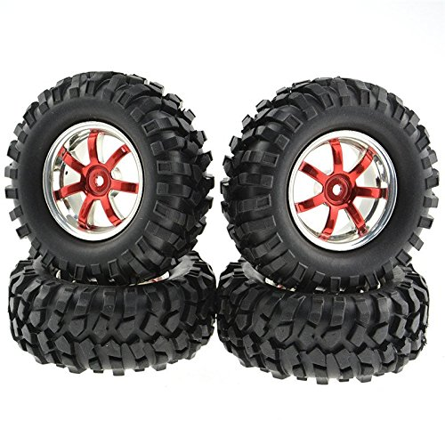 Rowiz 4PCS Off-Road Tires 7 Spoke Wheels For 1:10 RC Car Plating Color Red