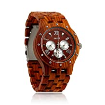 Oct17 Luxury Men's Wooden Wood Watch Analog Quartz Day Date Calendar Bamboo Movement Watches with Case