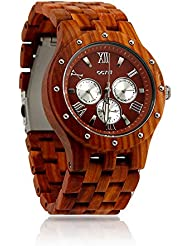 Oct17 Luxury Mens Wooden Wood Watch Analog Quartz Day Date Calendar Bamboo Movement Watches with Case
