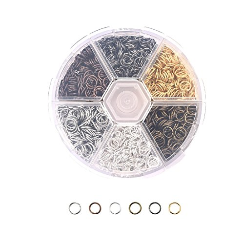 6mm 1800Pcs Open Jump Rings Box Set for DIY Jewelry Making Findings]()