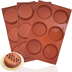 3 Packs 6 Cavity Large Round Disc Candy Silicone Molds, DaKuan Non-Stick Baking Molds, Mousse Cake Pan for French Dessert, Pie, Candy, Soap, Dia 3.1 Inch- Reddish