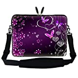 Meffort Inc 17 17.3 inch Neoprene Laptop Sleeve Bag Carrying Case with Hidden Handle and Adjustable Shoulder Strap - Purple Butterfly Heart Design
