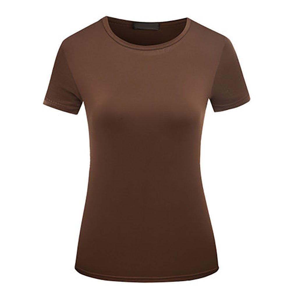 Women Blouse Fitted Summer O-Neck Solid Color Short Sleeve Casual T-Shirt Tops