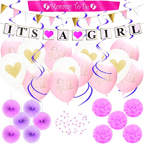 (80pcs) Baby Shower Party Decoration set for Girl, IT'S A GIRL Banner & Balloons, MOMMY TO BE Sash, Pink Paper Flower decor Favors, Pacifiers, Swirl Garland, Glitter Triangle Banner, Party Supplies