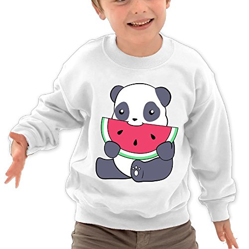 Price comparison product image Puppylol Panda and A Watermelon Kids Classic Crew-Neck Pullover Sweatshirt White 5-6 Toddler