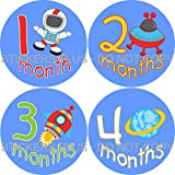Baby Boy Month Stickers Monthly Baby Milestone Stickers Outer Space I Astronaut Saturn Planet Rocket Ship Spaceship Baby Age Stickers