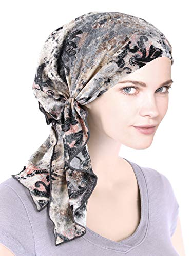 The Bella Scarf Chemo Turban Head Scarves Pre-Tied Bandana for Cancer Gray Distressed Vintage Floral