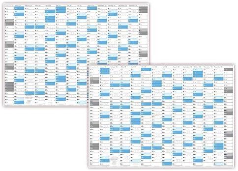 XXL Wandkalender DIN A0 2021 + 2022 gerollt (blau2) Wandplaner sehr groß im Format (840 x 1188 mm) mit extra großen Tageskästchen (Jahreskalender werden gerollt versendet)