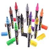 Liquid Chalk Markers, 12 Color Pen Set, Neon, Gold & Silver, 6mm Reversible Bullet/Chisel Tips, Easy Use Easy Clean, Free Tweezers, 40 Free Sticker Labels, BONUS Drawstring Bag