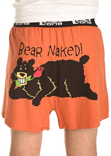 Mens Funny Animal Boxers (Large, Bear Naked Comical Boxers)