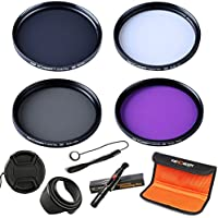 58mm Lens Filter, K&F Concept Slim UV Filter + Slim Circular Polarizing Filter (CPL) + Neutral Density Filter + Slim FLD for Canon eos Rebel T5i T4i T3i T6i DSLR Camera