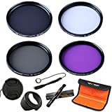 K&F Concept 58mm Lens Filter Kit Slim UV Filter + Slim Circular Polarizing Filter (CPL) + Neutral Density Filter + Slim FLD for Canon eos Rebel T5i T4i T3i T6i DSLR Camera