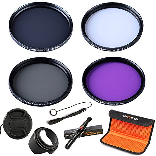 K&F Concept 67mm UV CPL FLD ND4 Neutral Density Len Accessory Filter Compatible with Canon Nikon DSLR Camera + Cleaning Pen + Flower Petal Lens Hood + Center Pinch Lens Cap + Cap Keeper + Filter Pouch ()
