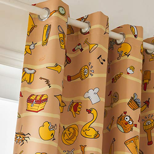 sgofais Decorative Print Blackout Curtain Panels Thermal Insulated Window Treatment Set for Kids Room 52 x 84 Inch Graphic Game Printing Orange 2 Panels (Panels Graphic Curtain)