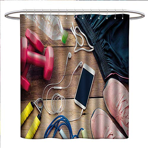 Fitness Shower Curtains Mildew Resistant Sportswear Running Shoes Cell Phone Water Fitness Preparations Activity Accessories Satin Fabric Bathroom Washable W69 x L75 Multicolor -