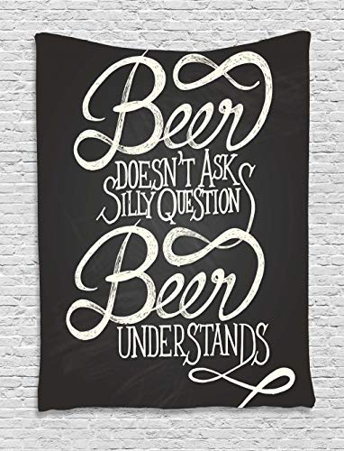 Funny Quotes Comics (Ambesonne Quotes Decor Collection, Beer Understands Doesn't Ask Silly Questions Comic Quotes Funny Hipsters Design, Bedroom Living Room Dorm Wall Hanging Tapestry, Dimgray)