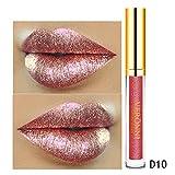 Euone Clearance Sales,10 Color Womens Magic Glitter Flip Lipstick Flip Pull Matte Pearl Lip Gloss Clu