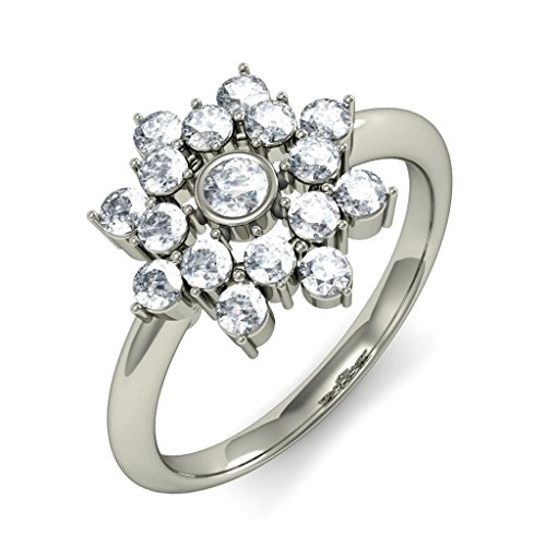 18K Or Blanc, 750/1000carat Diamant Taille ronde (IJ | SI) en diamant
