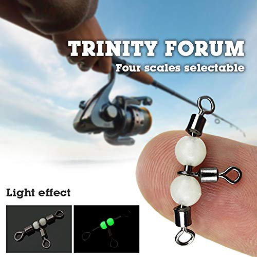 856store 10Pcs Luminous Swivel Fishing Connector Durable Practical Outdoor Fish Accessory